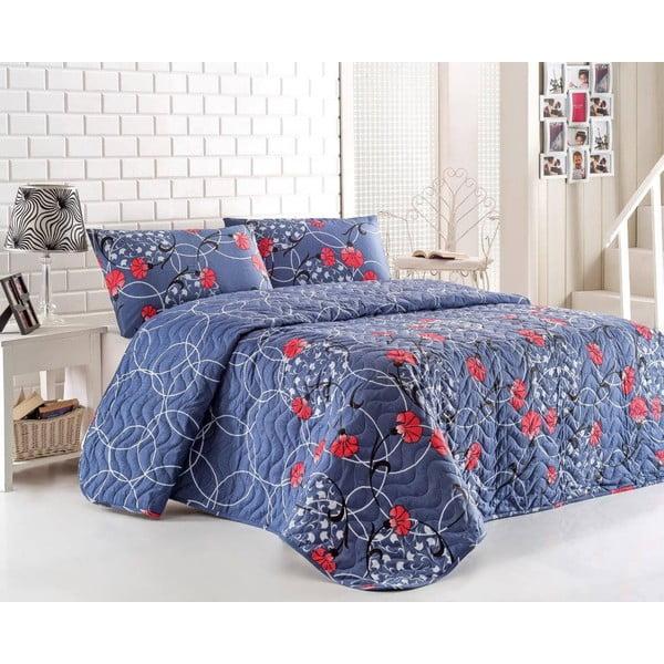 Pikowana narzuta i 2 poszewki na poduszki Blue Red, 200x220 cm
