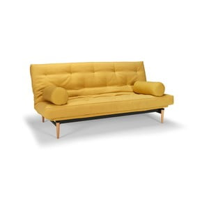 Żółta sofa rozkładana Innovation Colpus Soft Mustard Flower