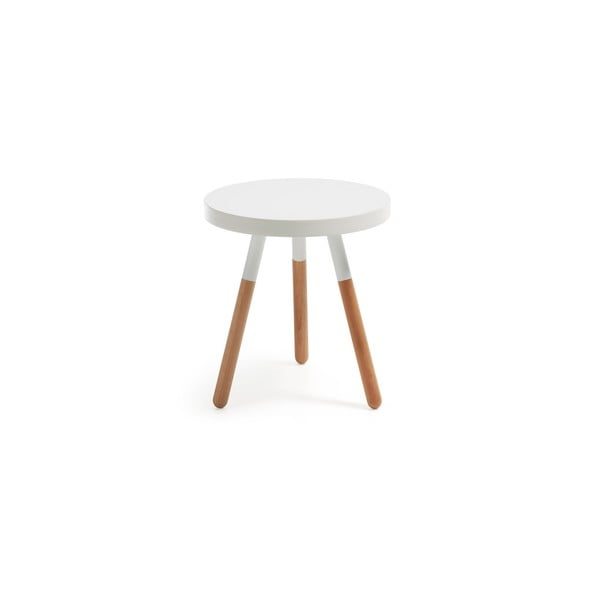 Biały stolik drewniany La Forma Brick, ⌀50cm