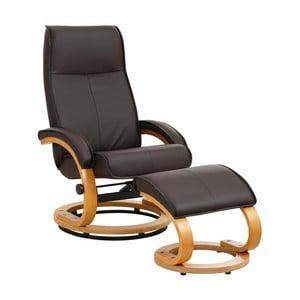 Brązowy fotel regulowany z podnóżkiem z obiciem ze skóry ekologicznej Støraa Rika