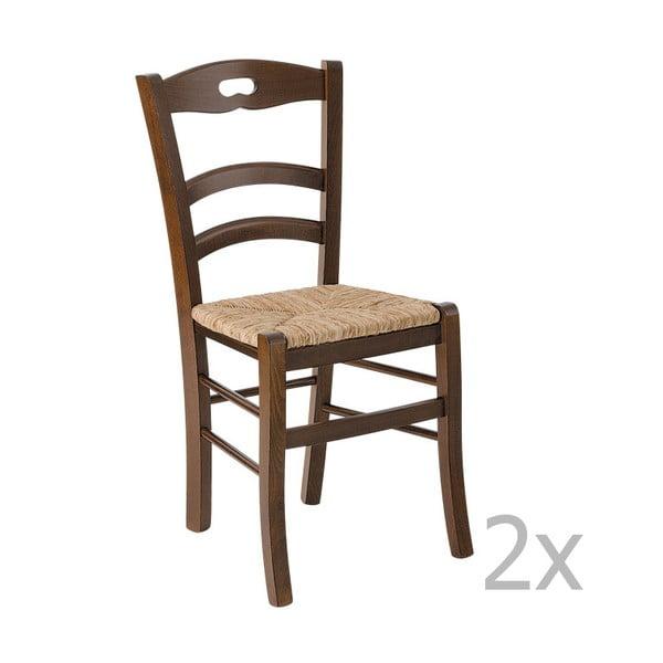 Zestaw 2 krzeseł z ciemnego drewna Castagnetti Lavagna