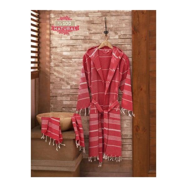 Zestaw szlafrok i ręcznik Sultan Red, L/XL