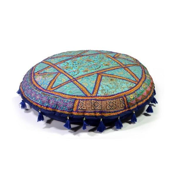 Poduszka do siedzenia wyszywana ręcznie Radżastan, niebieska