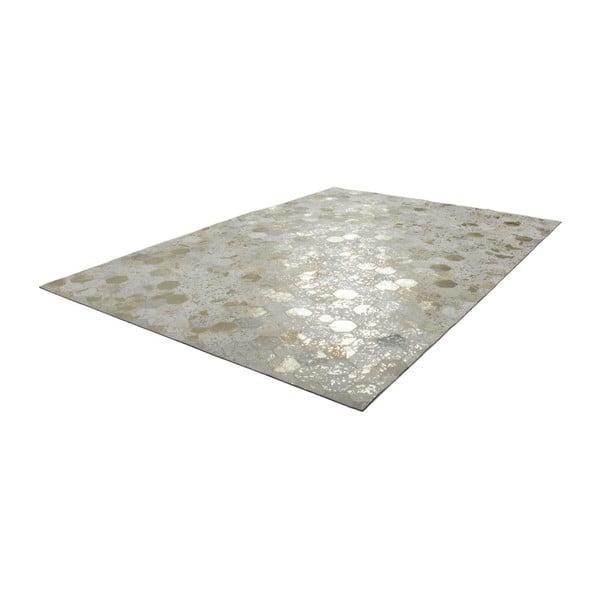 Kremowo-złoty skórzany dywan Daz, 160x230cm