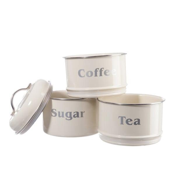 Zestaw 3 pojemników Cream Tea, Coffee and Sugar, 14x28 cm