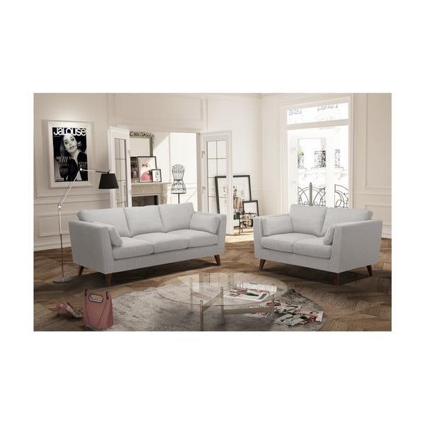 Kremowy zestaw 2 sof dwuosobowej i trzyosobowej Jalouse Maison Elisa