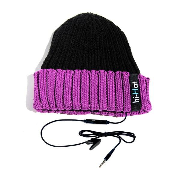 Czapka Hi-Hat ze słuchawkami, czarna/fioletowa