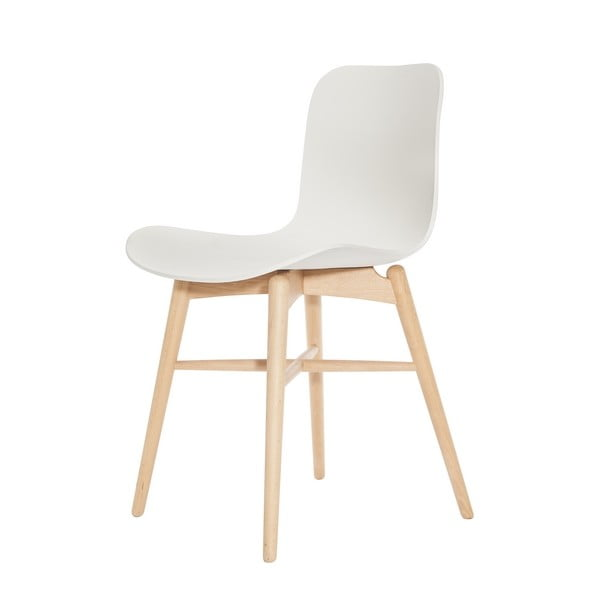 Białe krzesło bukowe do jadalni NORR11 Langue Natural