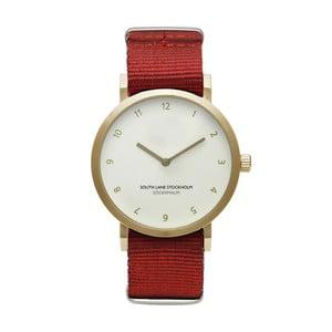 Zegarek unisex z czerwonym paskiem South Lane Stockholm Sodermalm Gold Big