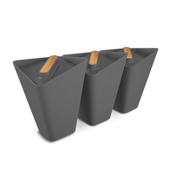Komplet 3 pojemników kuchennych Storage Jars, szary