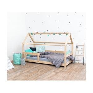 Lakierowane łóżko dziecięce z drewna świerkowego z barierkami Benlemi Tery, 90x180 cm
