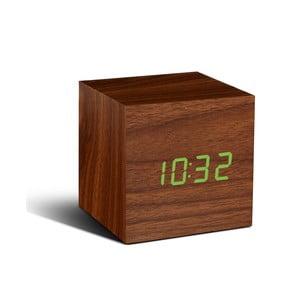 Brązowy budzik z zielonym wyświetlaczem LED Gingko Cube Click Clock