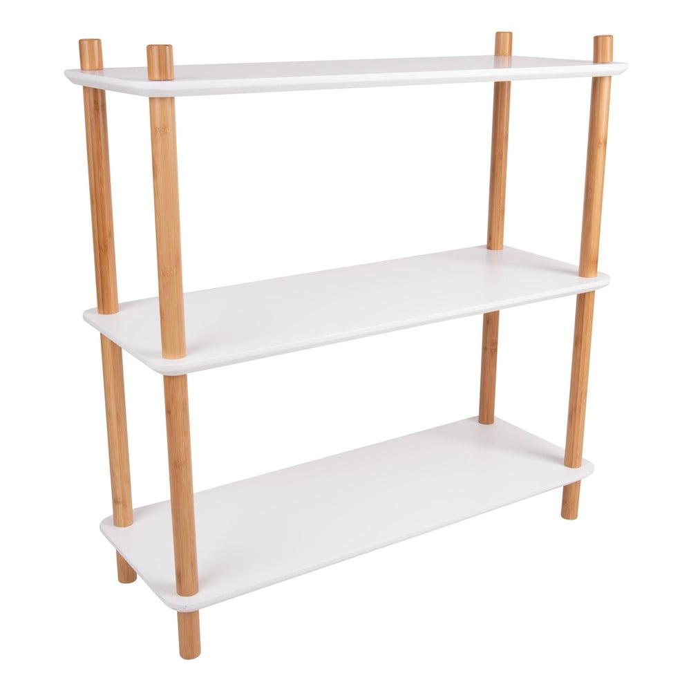 Biały regał z bambusowymi nogami Leitmotiv Cabinet Simplicity, 80x82.5 cm