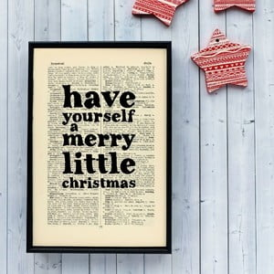 Plakat w   drewnianej ramie Merry Little Christmas