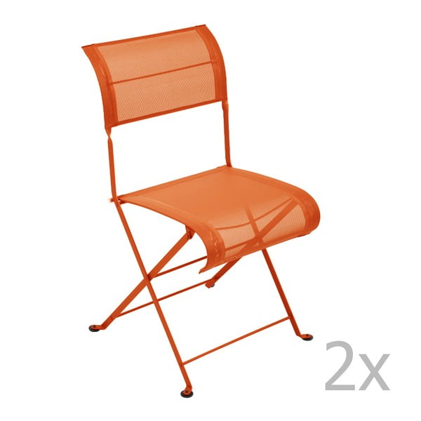 Zestaw 2 pomarańczowych krzeseł składanych Fermob Dune