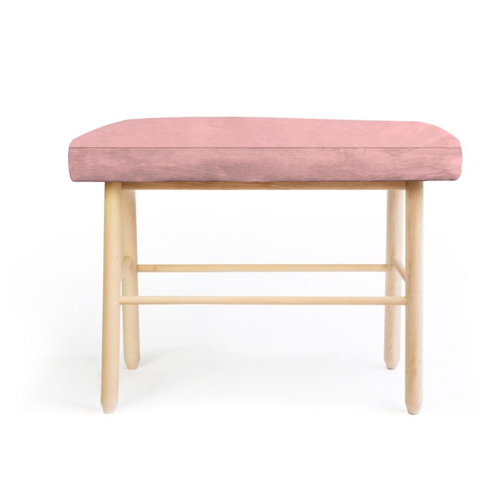 Stołek z drewna sosnowego z różowym aksamitnym obiciem Velvet Atelier