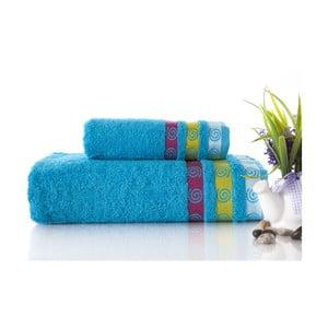 Zestaw 2 ręczników Truva Turquoise, 90x150 i 50x90 cm