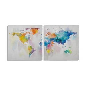 Zestaw 2 ręcznie malowanych obrazów Mauro Ferretti Mad World, 100 x 100 cm