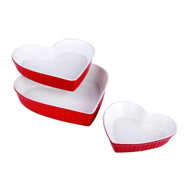 Zestaw 3 forem Heart Red