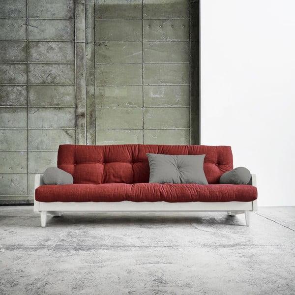 Sofa rozkładana Karup Indie White/Passion Red/Granite Grey