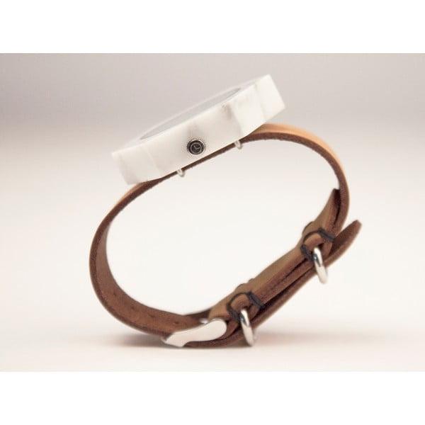 Biały sześciokątny marmurkowy zegarek z brązowym paskiem Analog Watch Co.