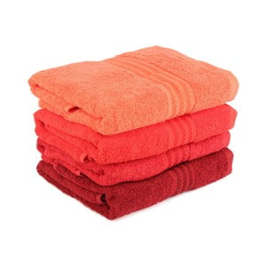 Zestaw 4 czerwonych ręczników Rainbow Tulip, 70x140cm