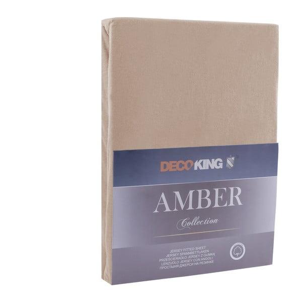 Brązowe prześcieradło DecoKing Amber Collection Cappuccino, 180-200x200 cm