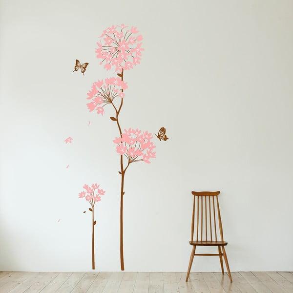 Naklejka ścienna Kwiaty i Motyl, 60x90 cm