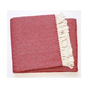 Ciemnoczerwony koc z dodatkiem bawełny Euromant Skyline, 140x180cm
