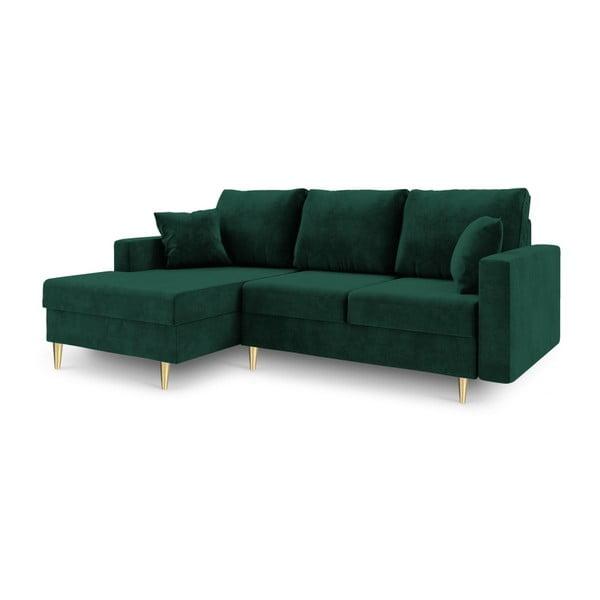 Zielona 4-osobowa sofa rozkładana Mazzini Sofas Muguet, lewostronna