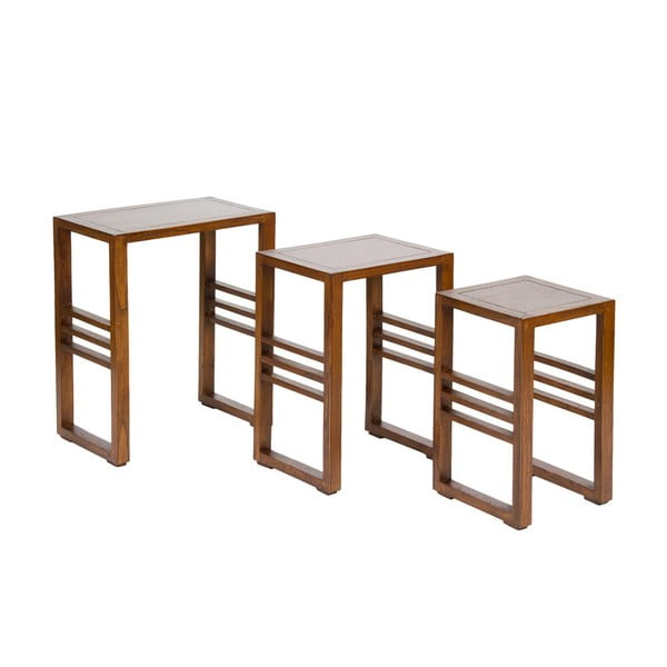 Zestaw 3 stolików z drewna mindi Santiago Pons Abirad