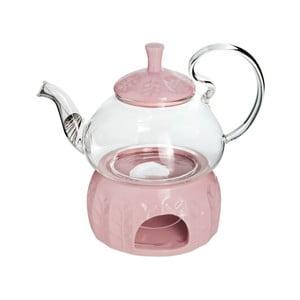 Szklany dzbanek do herbaty z podgrzewaczem Tasev, 600 ml