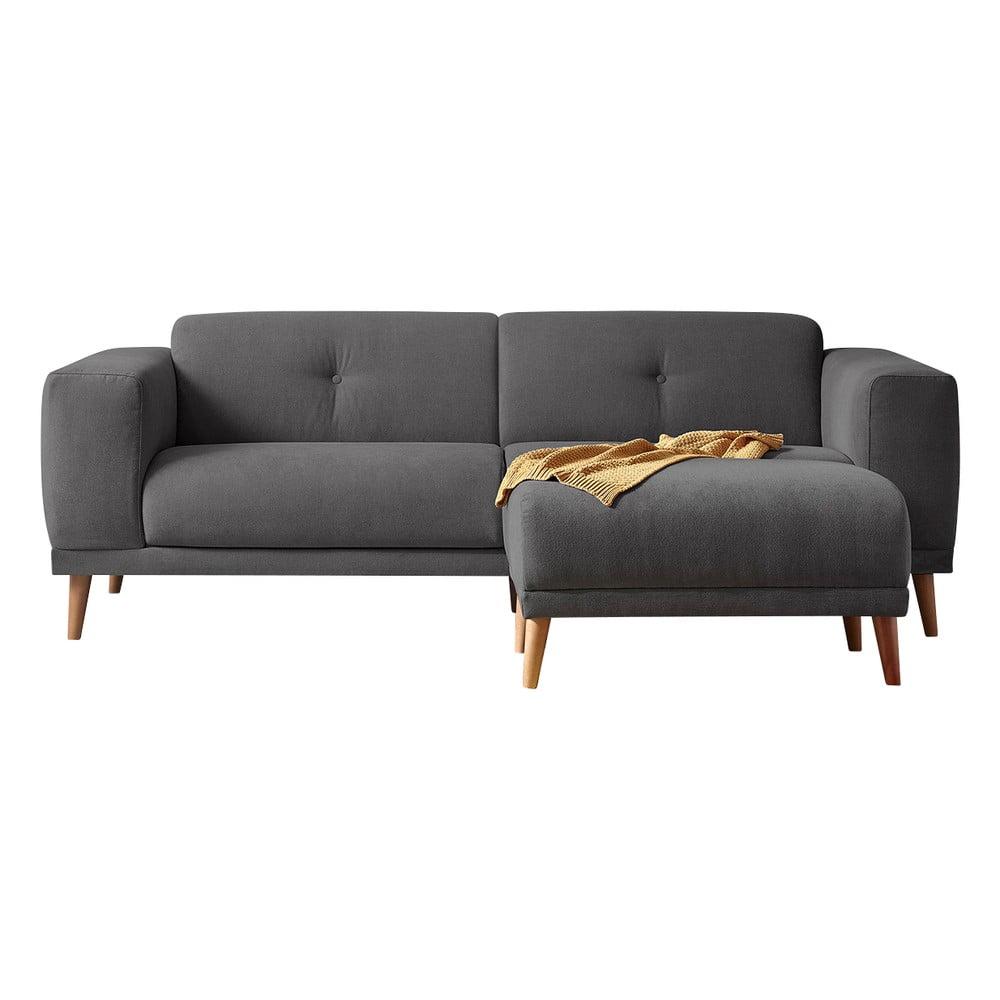 Ciemnoszara sofa z podnóżkiem Bobochic Paris Luna