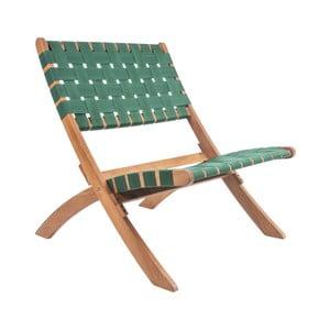 Zielone krzesło z drewna akacjowego z nylonowym obiciem Leitmotiv Weave