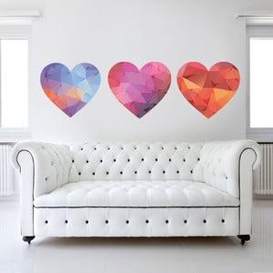 Naklejka na ścianę Kolorowe serduszka, 50x70 cm