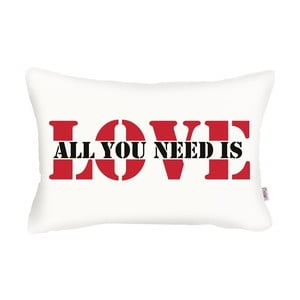 Biała poszewka na poduszkę Apolena Love Addict, 31x50 cm