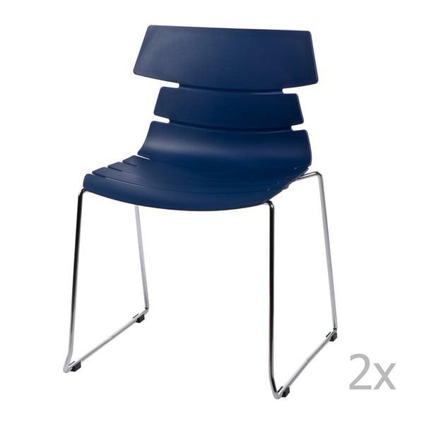 Zestaw 2 niebieskich krzeseł D2 Techno