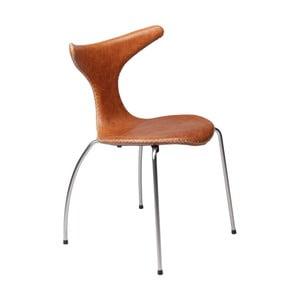 Brązowe krzesło skórzane z metalowymi nogami DAN–FORM Dolphin