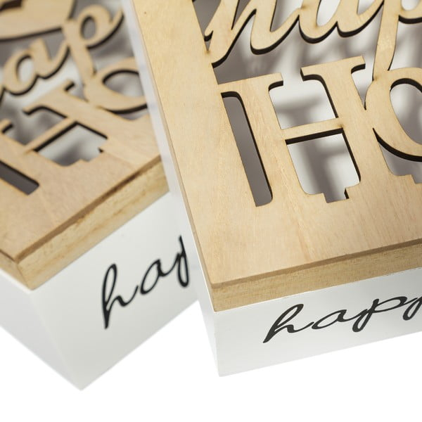 Zestaw 2 pudełek do przechowywania Happy Home