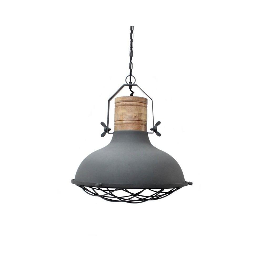 Szara lampa wisząca LABEL51 Grid, ⌀34cm