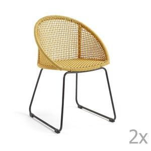 Zestaw 2 musztardowych krzeseł La Forma Sandrine