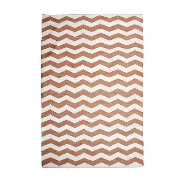 Bawełniany dywan Chevron Ivory/Beige, 120x180 cm