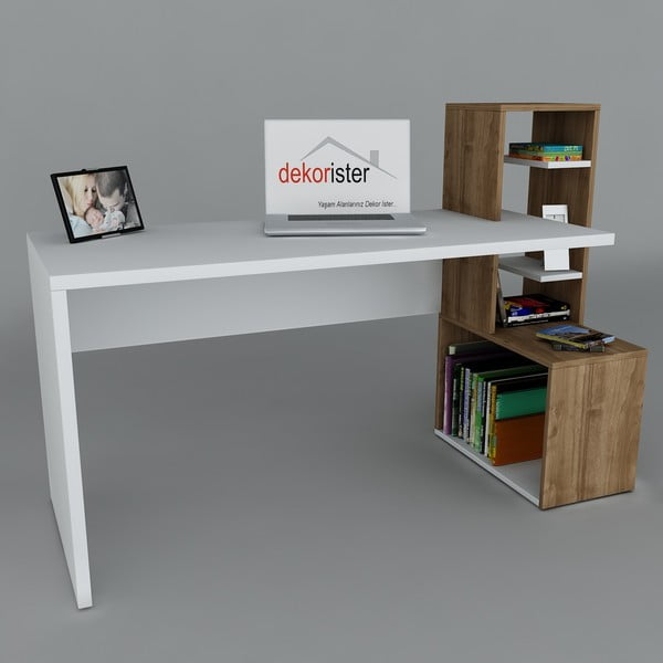 Biurko Side White/Walnut, 60x120x107 cm