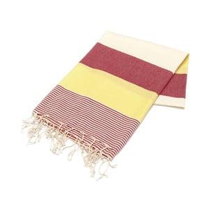 Czerwono-żółty ręcznik Hammam Amerikan, 100x180cm
