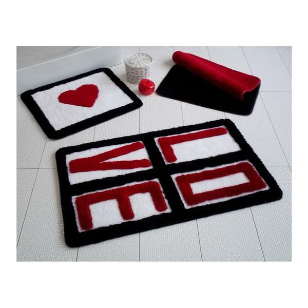 Komplet 3 dywaników łazienkowych Alessii Love Red