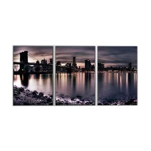 Trzyczęściowy obraz Manhattan Bridge, 45x90 cm