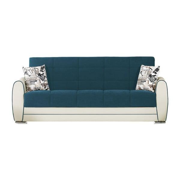 Niebieskozielono-kremowa trzyosobowa sofa rozkładana ze schowkiem Esidra Rest