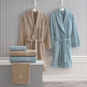 Komplet damskiego i męskiego szlafroka, ręczników i ręczników kąpielowych w beżowym i niebieskim kolorze Family Bath