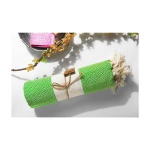 Ręcznik Hamam Diamonds Green, 100x180 cm