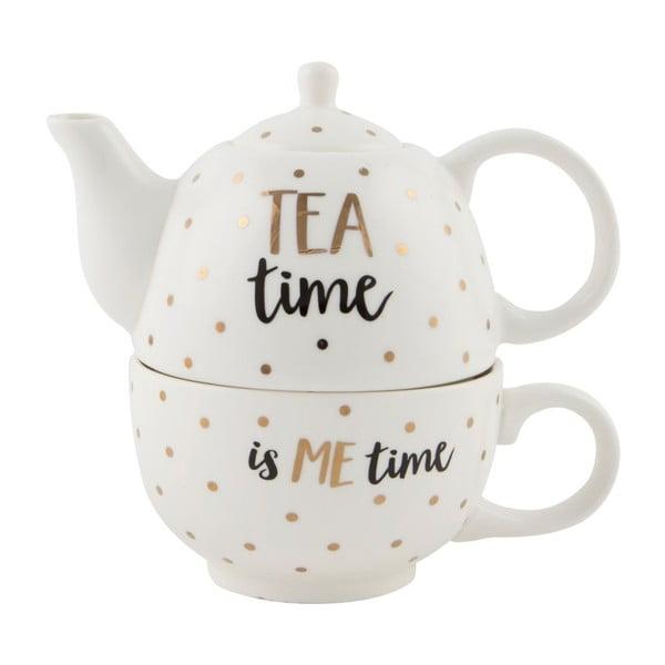 Kamionkowy dzbanek do herbaty z filiżanką Sass & Belle Tea Time